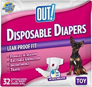 OUT! Disposable Female Dog Diapers   Absorbent Female Dog Diapers with Leak Protection   Female Dogs in Heat, Excitable Urination, or Incontinence