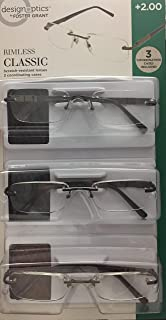 Design Optics rimless classic reading glasses 3 pairs +2.00