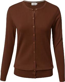 2d1fb599f22 ARC Studio Women Button Down Long Sleeve Crewneck Soft Knit Cardigan  Sweater (S-3XL