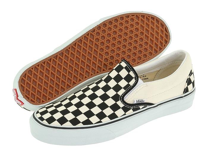 Mens Retro Shoes | Vintage Shoes & Boots Vans Classic Slip-Ontm Core Classics Black and White CheckerWhite Canvas Shoes $49.95 AT vintagedancer.com