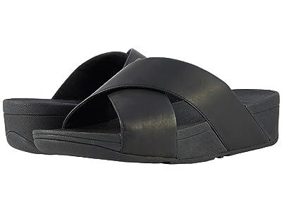 FitFlop Lulu Cross Slide Leather Sandal (Black) Women