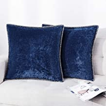 Farmhouse Decorative Throw Pillow Covers Set of 2 Trimmed Edge Velvet Cushion Cases for Couch Living Room, Navy, 24x24 inc...
