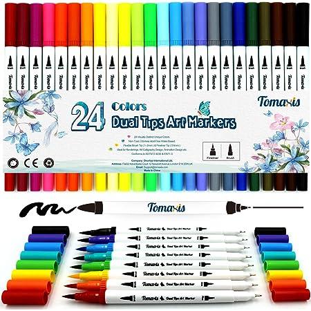 Lot de 24 feutres de coloriage pour Journal, coloriage adulte feutre, 0,4 mm Double pointes feutre fine et pinceau Couleur à l'eau Stylos de dessin