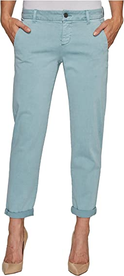 Billy Trousers Rolled-Cuff in Stretch Peached Twill in Slate Blue