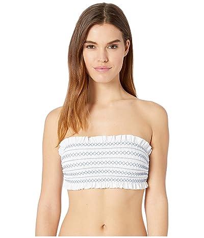 Tory Burch Swimwear Costa Bandeau Top (White/Blue Dusk) Women