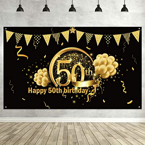 50th Birthday Black Gold Party Decoration, Extra Large Fabric Black Gold Sign Poster for 50th Anniversary Photo Booth...