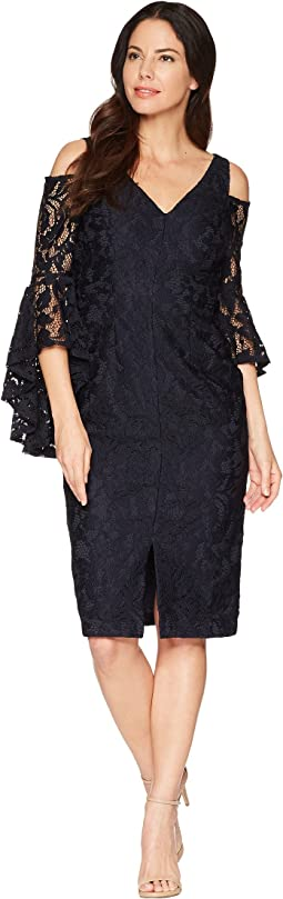 Breezy Leaf Lace Cold Shoulder Sheath Dress with Ruffle Sleeve