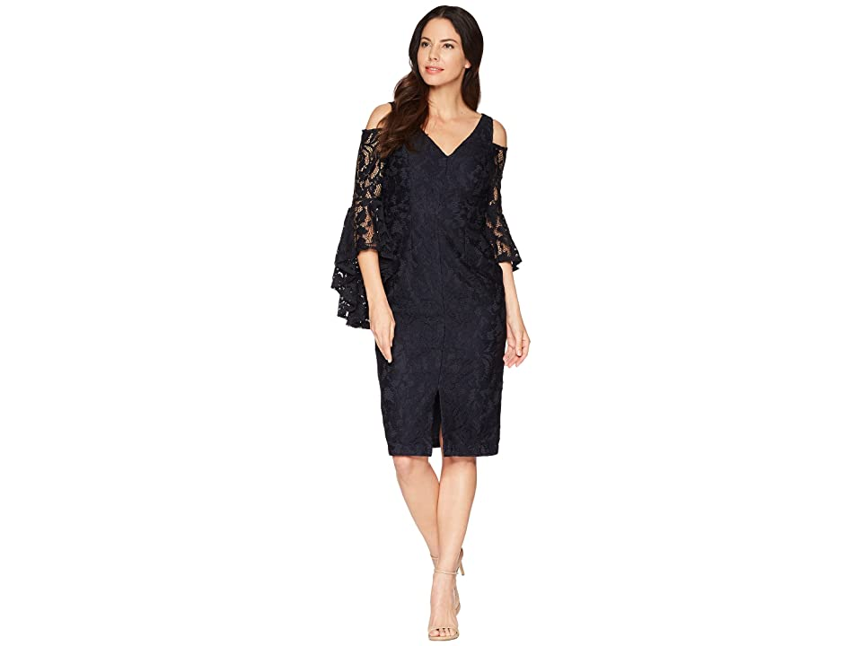 Maggy London Breezy Leaf Lace Cold Shoulder Sheath Dress with Ruffle Sleeve (Navy) Women