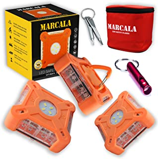MARCALA 2020 Roadside Safety Discs | The Only Complete LED Road Flare Kit w/ a Whistle! | DOT Compliant LED Safety Flare K...