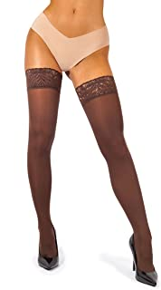 Lace Thigh High Stockings for Women - Hold Up Nylon Pantyhose 60 Den [Made in Italy]