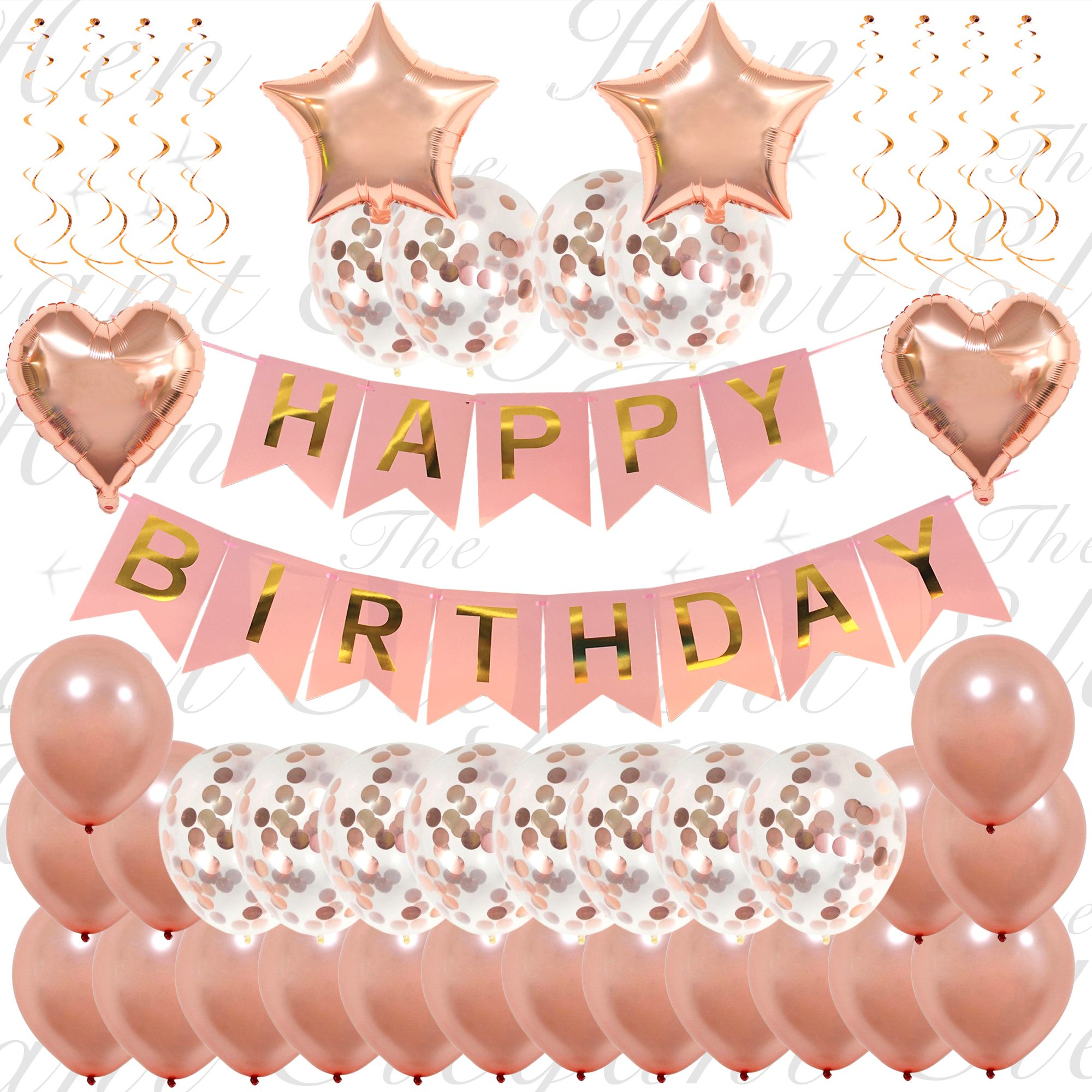 The Elegant Hen 45 Piece Ultimate Rose Gold Happy Birthday Decorations | Classy Birthday Confetti Balloon  sc 1 st  Amazon UK & Birthday Decoration: Amazon.co.uk