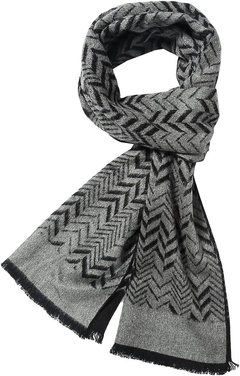 SSLR Men's Winter Colorful Cashmere Feel Soft Long Plaid Striped Scarf