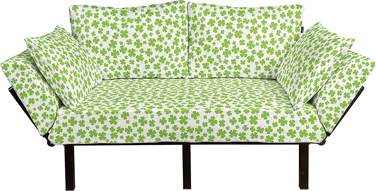 Lunarable Shamrock Futon Couch Irish with Clovers Arlington Mall St Inventory cleanup selling sale Pa Culture