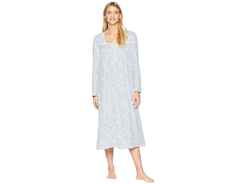 Eileen West Cotton Jersey Ballet Long Sleeve Nightgown (White Ground/Blue Mono Scroll) Women