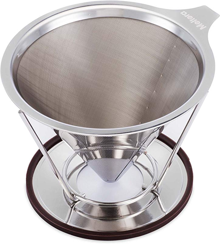 Single Cup Coffee Maker By Meltera Pour Over Coffee Filter For Best Brew Stainless Steel Reusable Cone Dripper With Removable Stand 100 Paperless Eco Friendly Works With Carafe