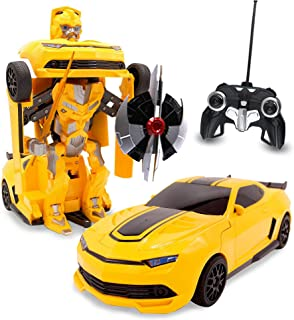 Kids RC Toy Sports Car Transforming Robot Remote Control with One Button Transformation, Realistic Engine Sounds, 360 Speed Drifting, Sword and Shield Included Toys For Boys 1:14 Scale Yellow