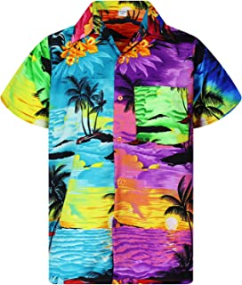 V.H.O. Funky Hawaiian Shirt   Men   XS-12XL   Short-Sleeve   Front-Pocket   Hawaiian-Print   Surf Palms Summer   Turquoise