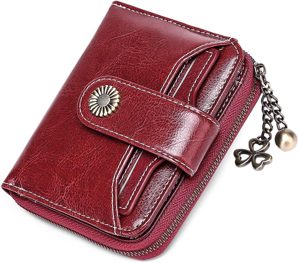 Sendefn porta carte di credito con protezione anticlonazione portafoglio da donna in pelle 5185A