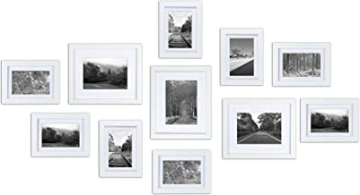 Ray & Chow White Gallery Wall Picture Frames Set Kit- 11 Frames- Solid Wood- Glass Window-Made to Display 8x10 5x7 Without...