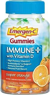 Emergen-C Immune+ Gummies, Vitamin D plus 750 mg Vitamin C (45 Count, Super Orange Flavor) Immune Support Dietary Supplement, Caffeine Free, Gluten Free