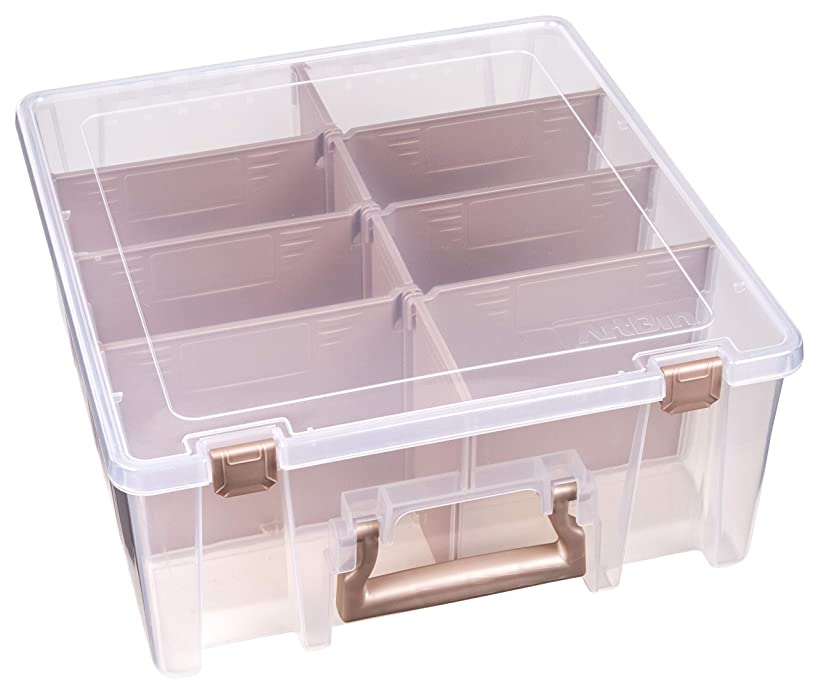 Art Bin 6990RK Super Satchel Double Deep with removable dividers Rose Gold, Clear & Rose