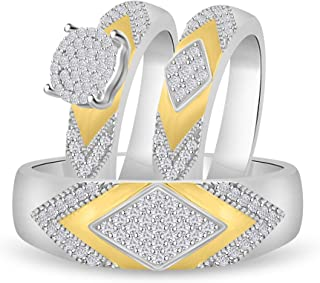 96910d34b Diamond Scotch 14k White Gold Over Round Cubic Zirconia Cluster His & Her  Bride & Groom