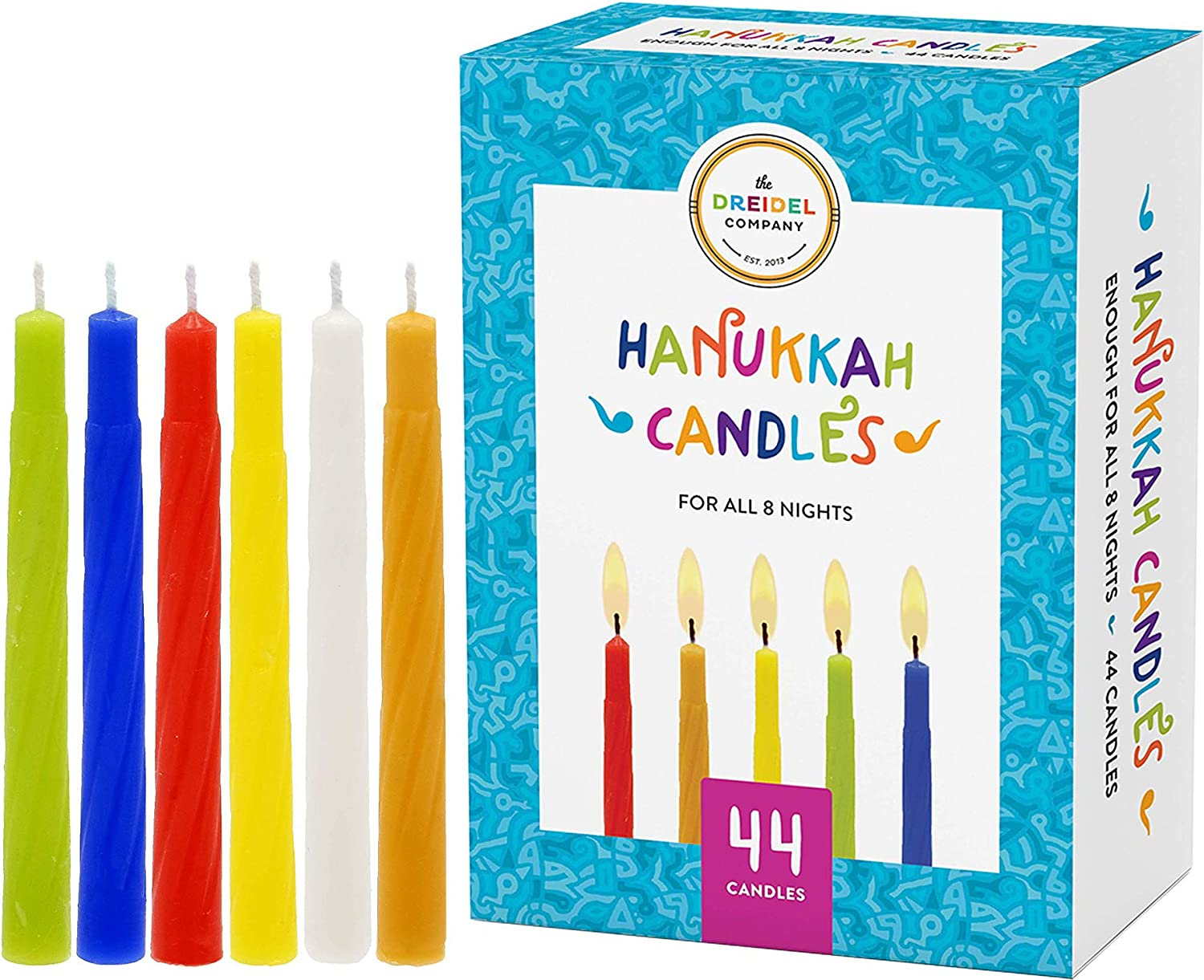 The Dreidel Company Menorah Chanukah 44 Candles Be super welcome Colorful Max 51% OFF