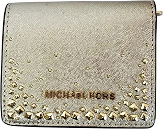 Michael Kors Giftables Studded Flap Card Holder Safiano Leather Small Wallet