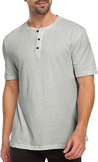 Mens Henleys Short Sleeve T-Shirts Buttons Placket Casual Cotton Shirts
