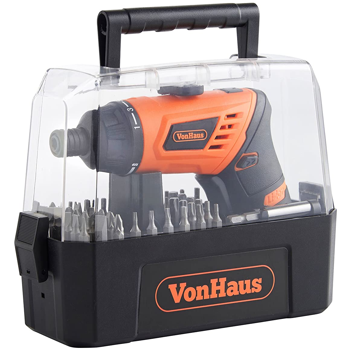 VonHaus Cordless Electric Screwdriver 3.6V Lithium-Ion MAX Torque 5 N.m Rechargeable LED Light with 3-Position Handle and 50 Screwdriver Bits Accessory Set in Case