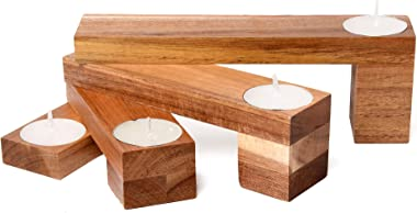 Bamboo Tea Light Candle Holder – Holds 4 Refillable Tea Lights for a Beautiful Table Centerpiece in Your Home Decor – Eco-fri