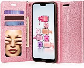 J&D Case Compatible for Huawei P20 Lite Case, [Glittering] [RFID Blocking] [Mirror Function] Shockproof Flip Cover Wallet Case with Card Slots and Makeup Mirror for Huawei P20 Lite Wallet Case