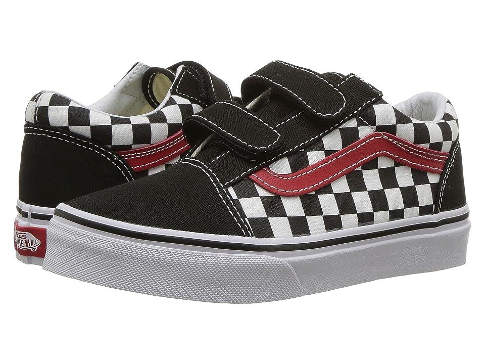 Vans Kids Old Skool V (Little Kid/Big Kid) ((Checkerboard) Black/Red/True White) Boys Shoes