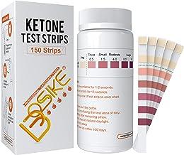 Tiras de prueba de cetona BOSIKE, kit de 150 tiras de medición de cetosis, medidor preciso y profesional de tiras de análi...