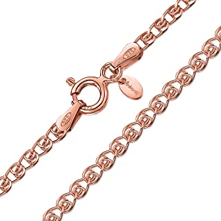 Amberta 14K Rose Gold Plated on 925 Sterling Silver 2.3 mm Heart Chain Necklace