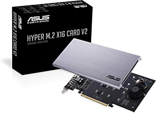 ASUS Hyper M.2 X16 PCIe 3.0 X4 Expansion Card V2 Supports 4 NVMe M.2 (2242/2260/2280/22110) Up to 128 Gbps for Intel VROC and AMD Ryzen Threadripper NVMe RAID