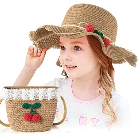 Czemo Sombrero de Paja Niñas Anti UV Gorra de Sol Chica y Bolsillo Set Alas Anchas Transpirable para Viaje Beach Piscina al Aire Libre 3-7 años (Café)
