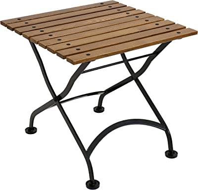 Sunnydaze European Chestnut Wood Folding Square Side Table - Small Indoor/Outdoor Table - Ideal for Patio, Balcony or Living Spaces - 20-Inch Square - Brown