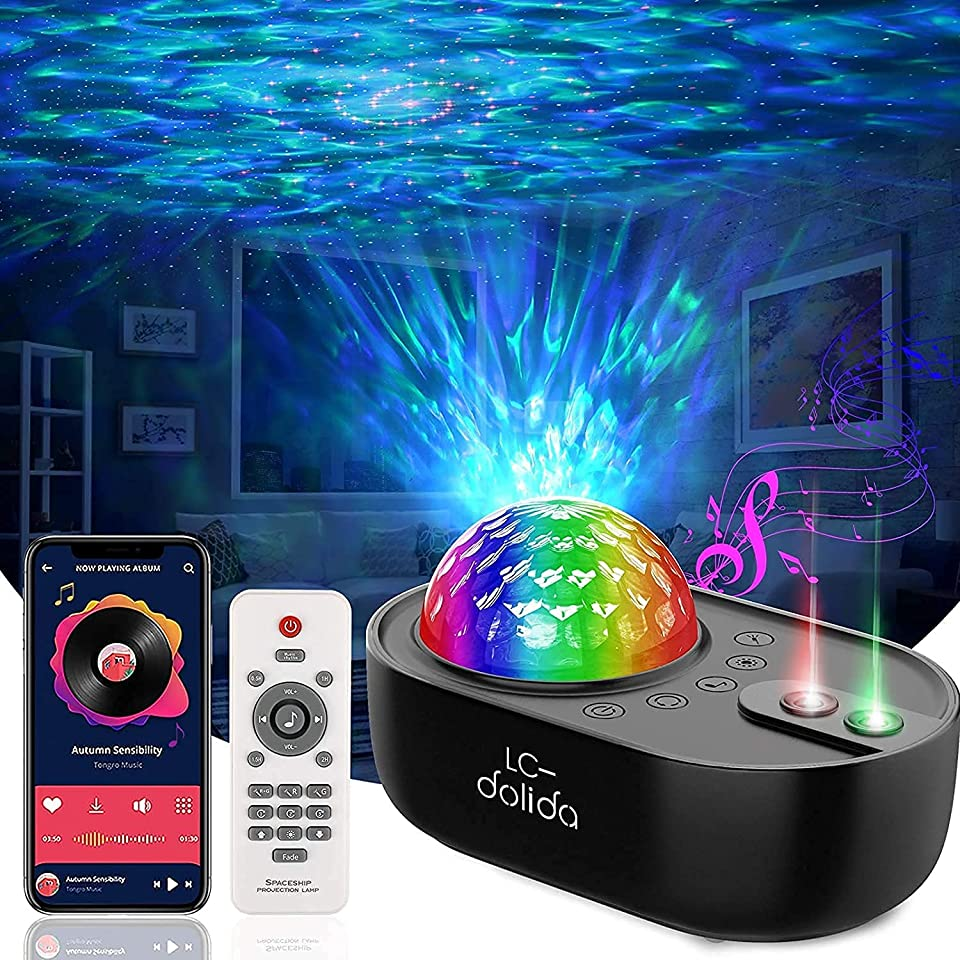 LED Sternenhimmel Projektor, 3 in 1 Nachtlicht Galaxy Projektor Sternenprojektor Starry Light Mit Bluetooth Lautsprecher/Fernbedienung/Timer für Kinder Erwachsene Zimmer,Party, Geschenke(Schwarz)