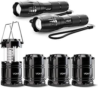 Vont Adventure Lighting Pack 1 – 2 Pack Blaze Flashlights & 4 Pack LED Camping Lanterns - Lights Bundle for Outdoor Activi...