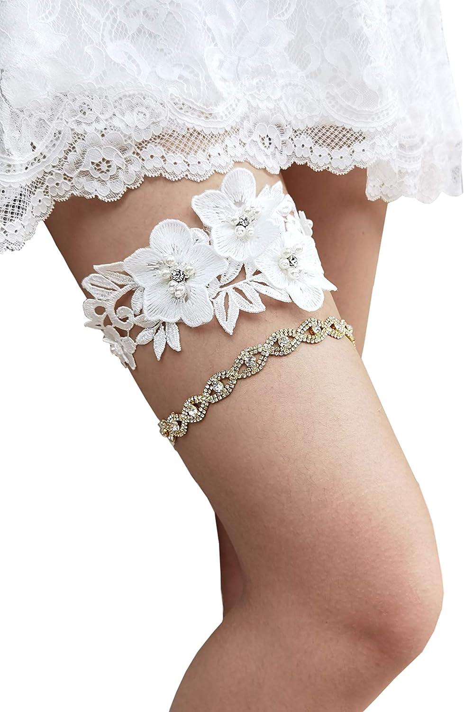 Silver Gray Turquoise Bridal Garter Set Chiffon Fabric Flower Garters Plus Size Blue Sequin Wedding Garter Glitter Elastic Garter