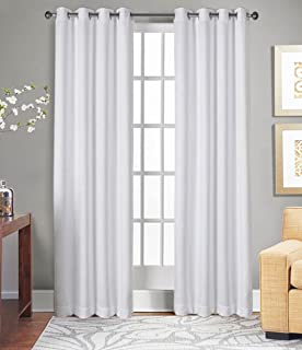 Tiny Break Room Darkening Eco Friendly & Safe, 108 inch Long 100% Natural Cotton Living Room Bedroom Curtain, White, Set of 2 Panels