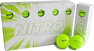 Nitro Long Distance Peak Performance Golf Balls (15PK) All Levels White Out 70 Compression High Velocity White Hot Core Long Distance Golf Balls USGA Approved-Total of 15-Yellow