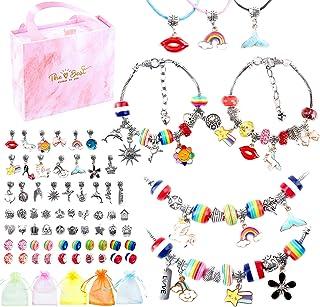 Charm Bracelets Kit for Girls, AONOKOY 74 Pcs Jewelry Making Kit with Bracelet Beads, Jewelry Charms, Bracelets for Jewelr...