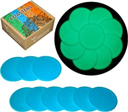 Silicone Coasters for Drinks Glow-in-the-Dark Drink Coaster Set of 9 Cool Beer Mats Perfect Size Pad Fit Cups Glasses Bar Table Desk Protection, Cute Box Holder, Funny Gift by Thriftiqs (Blue & Glow)