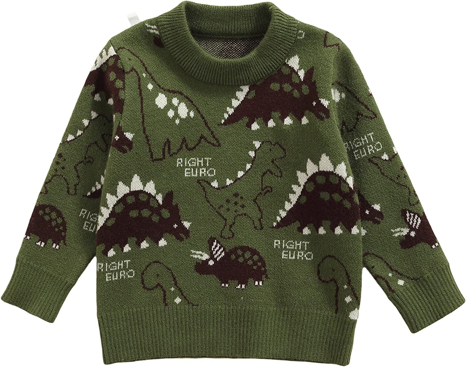 Toddler Boys Long Sleeve Sweater Dinosaur Letters Printed Knitted Pullover Top Elastic Fall Winter Clothe
