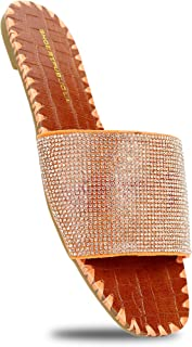 Women's Flat Sandals Rhinestone Glitter Slide On Casual Slipper