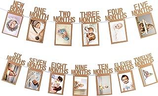 Whaline 1st Birthday Baby Photo Banner for Newborn to 12 Months, Monthly Milestone Photograph Bunting Garland, First Birthday Celebration Decoration (Kraft)