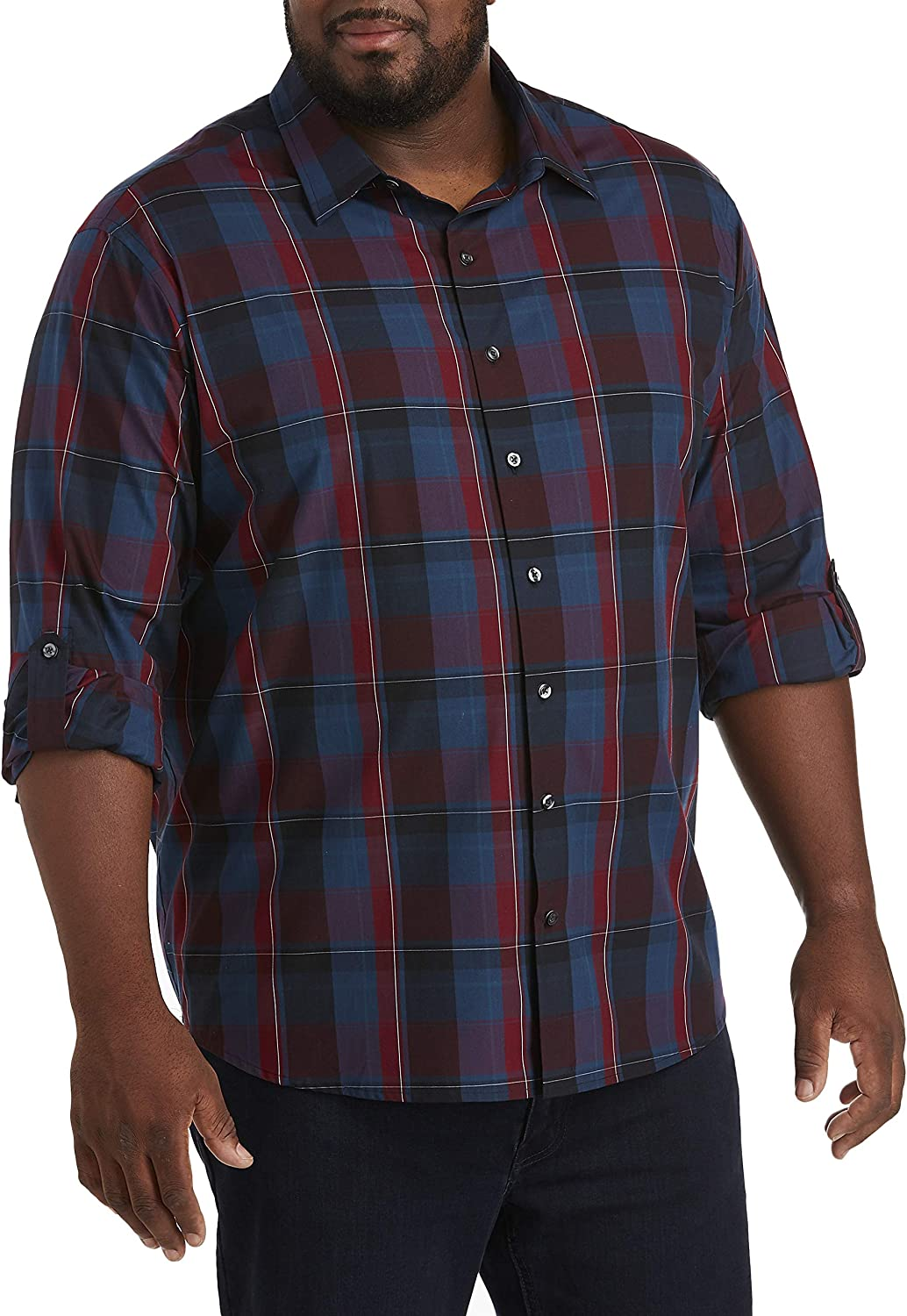 DXL Synrgy Big and Tall Roll Sleeve Large Plaid Sport Shirt, Zinfandel