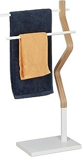 Relaxdays Wieszak na ręczniki stojący, wieszak na ręczniki z 2 drążkami, na ręczniki do rąk i naczyń, drewno i metal, biał...
